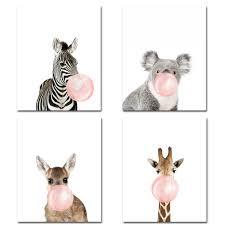 3 size funny koala bear zebra canvas print