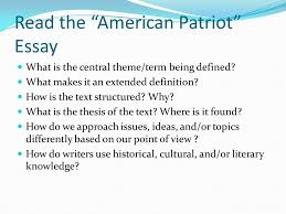english genre study for group discussion think about a the american patriot essay what is the central theme term being defined
