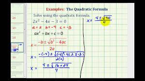 ex1 quadratic formula two real irrational solutions
