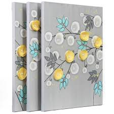 gray and yellow wall art painting of flowers on canvas