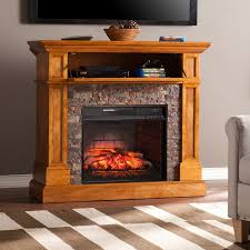 boston loft furnishings 45 5 in w sienna mdf infrared quartz electric fireplace with thermostat and