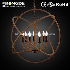 Moderne Kugelform Jute Seil Kronleuchter Lampe Mit 7
