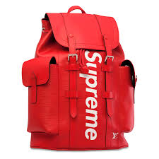 red leather supreme backpack