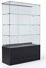 Standing Glass Display Case Free Standing Display Case Black Storage Base Full Vision 2