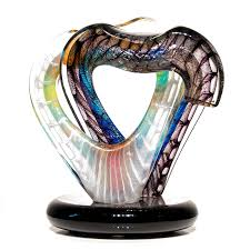 authentic hotblown glass sculpture entwined hearts by adriano dalla valentina