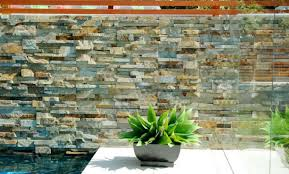 natural stone pool stacked stone