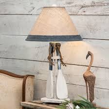 navy paddles rope table lamp with burlap shade