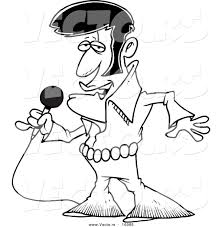 Small Picture Vector of a Cartoon Elvis Impersonator Singing Outlined Coloring