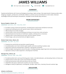 Skin Care Specialist Sample Resume Skin Care Resume Besikeighty24co 4
