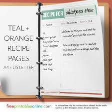 Full Page Recipe Templates Teal Orange Full Page Recipe Template Free Printables Online