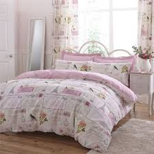 details about parisienne patchwork pink super king size duvet cover pencil pleat curtains