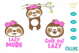 Download free svg vectors for commercial use. Lazy Sloth Baby Girl Svg Sloth Cut Files 555097 Cut Files Design Bundles