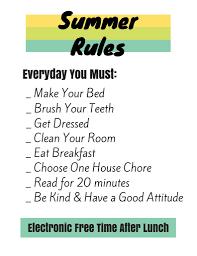Summer Rules Behavior Chart Schedule For Kids