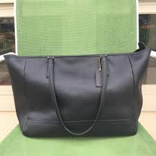 Coach City Saffiano Large Black Leather Tote