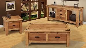 image of rustic storage coffee table set