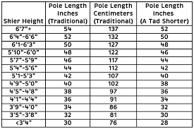 Ski Pole Length Chart Grass Sticks Bamboo Ski Poles And Sup Paddles Ski Pole Size