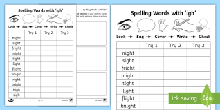 Igh and ie sounding letters missing worksheet 3. Igh Spelling List Activity Sheets Teacher Made