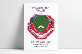 Philadelphia Phillies Mlb Stadium Map Ballpark Map Baseball Stadium Map Gift For Him Stadium Seating Chart Man Cave