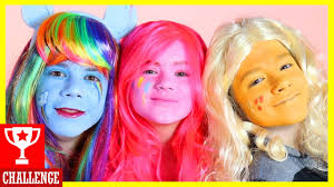 my little pony face paint makeup challenge rainbow dash vs pinkie pie vs apple jack kittiesmama