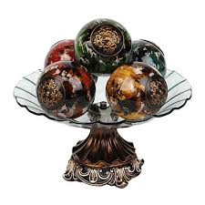 Decorative Bowl With Orbs acanthus crackle glass orb bowl Decorative Plates Decorative 53