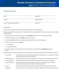 review examples for employees 46 employee evaluation forms performance review examples