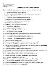Vocab Building Worksheets To Build A Fire By Jack London Vocabulary List Worksheet Key