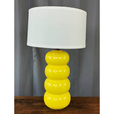 Large Mid Century Modern Yellow Ceramic Table Lamp Past Perfect