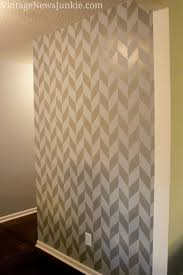 painted gray wall herringbone pattern looks gorgeous but oh so much work