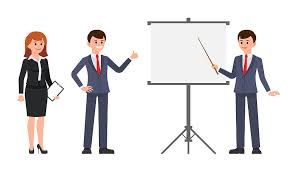 Male And Female Office Workers Making Report On Flip Chart Vector Illustration Of Cartoon Character Young Coworkers At Presentation By Cherstva