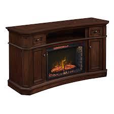 scott living 60 in w 5 200 btu walnut infrared quartz electric fireplace with media