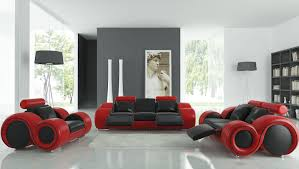 Two Tone Living Room Furniture Amazing Modern Leather Couches With Two Tone Accents Combined Red