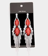 5 red big silver dangle drop rhinestone prom long crystal pageant earrings 1 of 2only 3 available see more