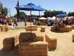 Straw bale seating for cow boy party