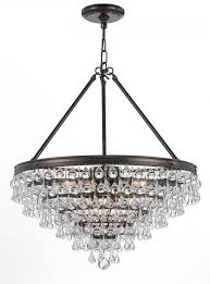 8 light vibrant bronze transitional chandelier dd in clear glass drops