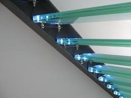 structural glass modern staircase