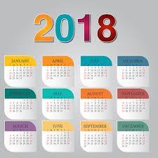 Calender Design Template Colorful Calendar 2018 Template Vector Design 01 Free Download