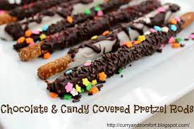 chocolate and candy covered pretzel rods