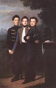 three brothers 1828 jozsef czauczik oil painting