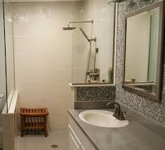 solid surface shower stall panels with a stone tile pattern in a beige color innovate
