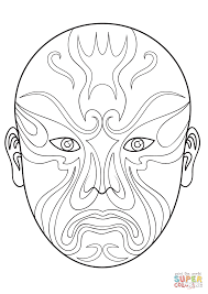 Small Picture Coloring Pages Chinese Opera Mask Coloring Page Free Printable