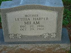 Letitia Harper Milam (1886-1962) - Find A Grave Memorial