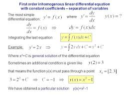 solving ordinary diffeial equations math first order linear diffeial equation with constant coefficients separation of variables