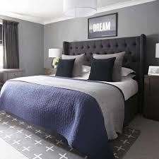 Grey And Navy Bedroom, Urban Outfitters Rug, Upholstered Bed, Farrow And  Ball Plummet