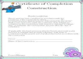 Certificate Of Final Completion Template Work Completion