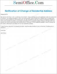 Change Of Residential Address Letter