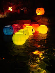 floating jack o lantern for themed pool decoration for night party