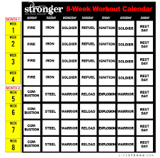 stronger workout calendar