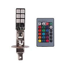 RGB 9 LED SMD5050 Remote Control Car Fog Light H1 H3 880 ...