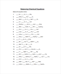 simple balancing equations worksheet