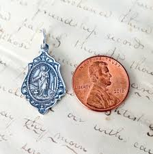st agatha and st lucy medal patron of nurses t cancer and eyes sterling silver antique replica